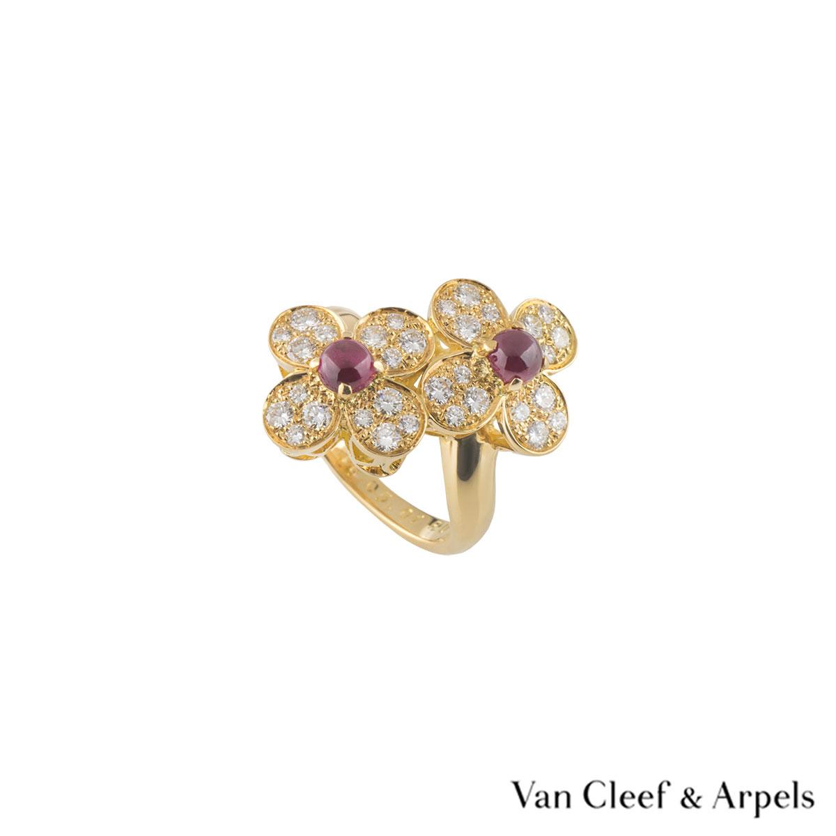 Van Cleef & Arpels Diamond and Ruby Vintage Alhambra Ring